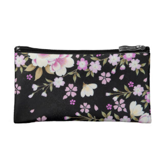 Falln Cascading Pink Flowers Cosmetic Bag