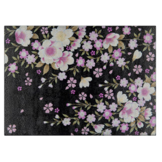 Falln Cascading Pink Flowers Cutting Board