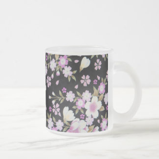 Falln Cascading Pink Flowers Frosted Glass Coffee Mug