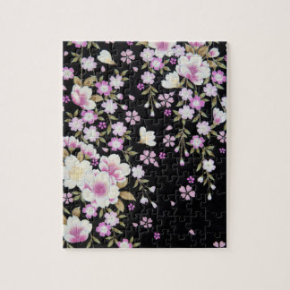 Falln Cascading Pink Flowers Jigsaw Puzzle