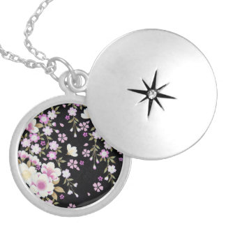Falln Cascading Pink Flowers Locket Necklace