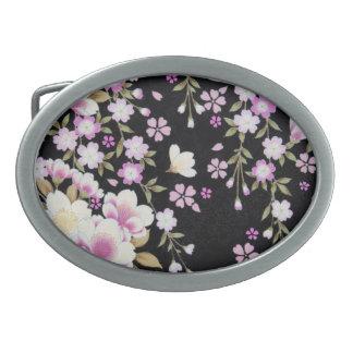 Falln Cascading Pink Flowers Oval Belt Buckles