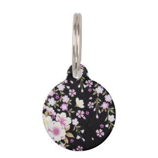 Falln Cascading Pink Flowers Pet ID Tag