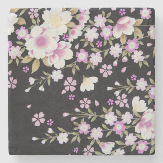 Falln Cascading Pink Flowers Stone Coaster