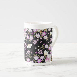 Falln Cascading Pink Flowers Tea Cup