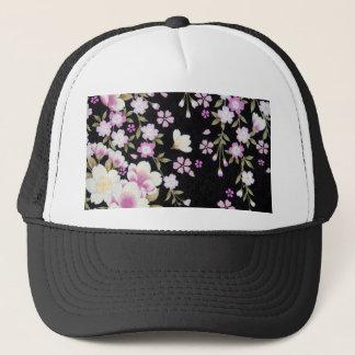 Falln Cascading Pink Flowers Trucker Hat