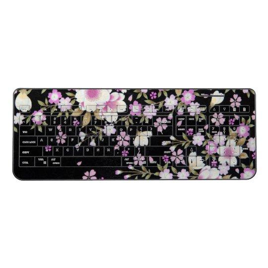 Falln Cascading Pink Flowers Wireless Keyboard