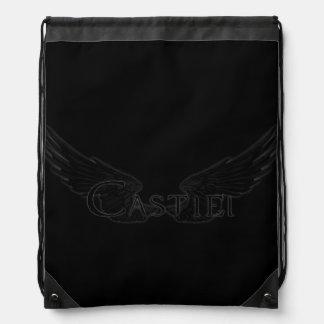 Falln Castiel With Wings Black Drawstring Bag