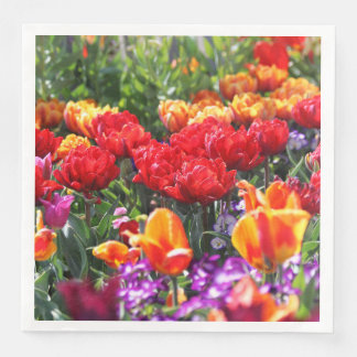 Falln Floral Crimson Waves Paper Napkin