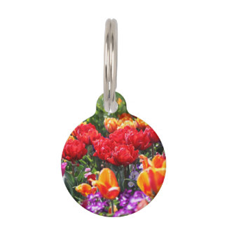 Falln Floral Crimson Waves Pet ID Tag