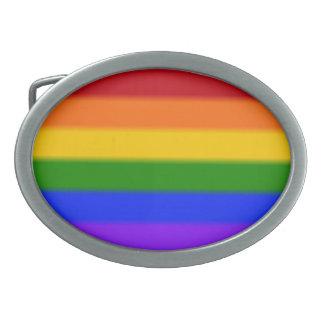 Falln Gay Pride Flag Oval Belt Buckle