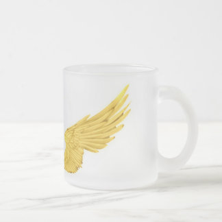 Falln Golden Angel Wings Frosted Glass Coffee Mug