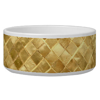 Falln Golden Checkerboard Dog Food Bowl