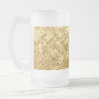 Falln Golden Checkerboard Frosted Glass Beer Mug