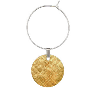 Falln Golden Checkerboard Wine Charm