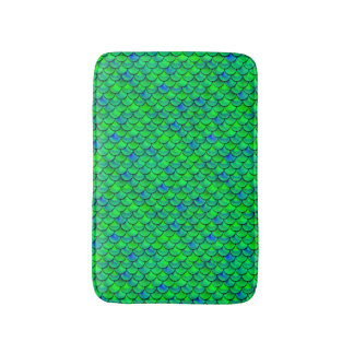 Falln Green Blue Scales Bath Mat