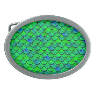 Falln Green Blue Scales Belt Buckle