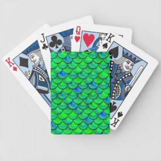 Falln Green Blue Scales Bicycle Playing Cards