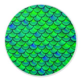 Falln Green Blue Scales Ceramic Knob