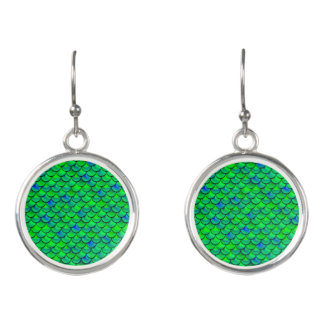 Falln Green Blue Scales Earrings