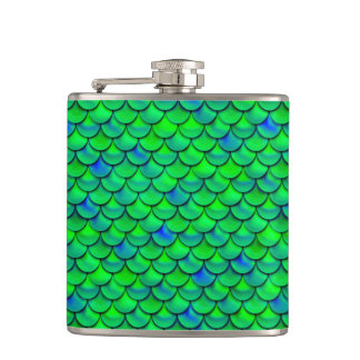 Falln Green Blue Scales Flask