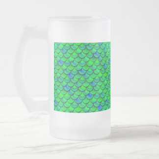 Falln Green Blue Scales Frosted Glass Beer Mug