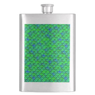 Falln Green Blue Scales Hip Flask