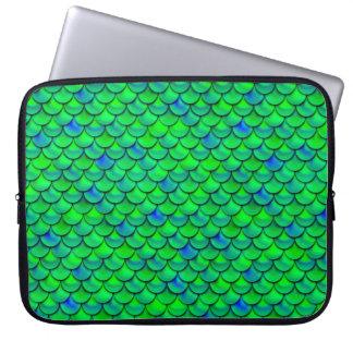 Falln Green Blue Scales Laptop Sleeve