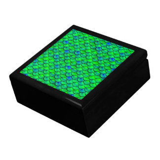 Falln Green Blue Scales Large Square Gift Box