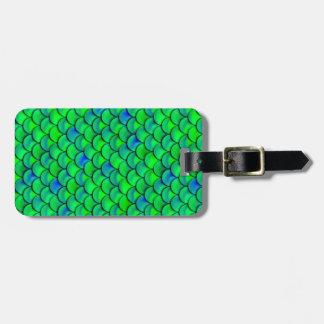 Falln Green Blue Scales Luggage Tag