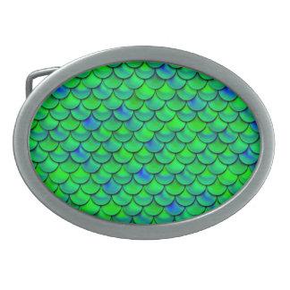 Falln Green Blue Scales Oval Belt Buckle