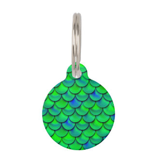 Falln Green Blue Scales Pet Name Tag