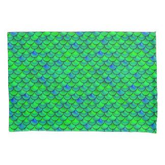 Falln Green Blue Scales Pillowcase