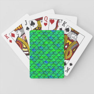 Falln Green Blue Scales Playing Cards