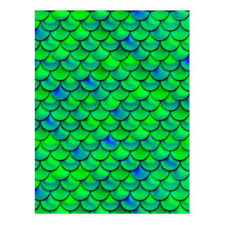 Falln Green Blue Scales Postcard