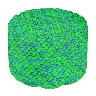 Falln Green Blue Scales Pouf