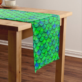 Falln Green Blue Scales Short Table Runner