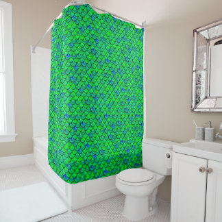 Falln Green Blue Scales Shower Curtain
