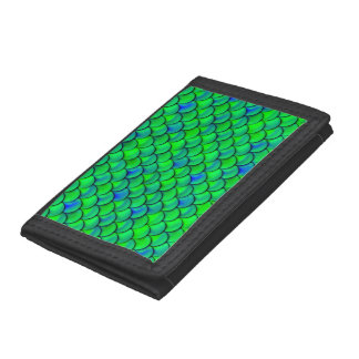 Falln Green Blue Scales Tri-fold Wallet
