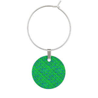 Falln Green Blue Scales Wine Charm