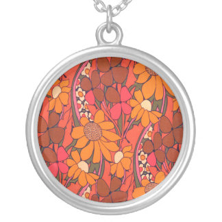 Falln Groovy Flowers Round Pendant Necklace
