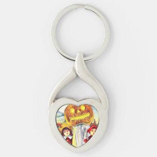 Falln Halloween Pumpkin Ghost Silver-Colored Twisted Heart Key Ring