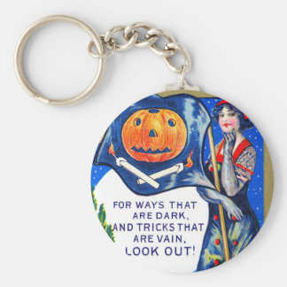 Falln Look Out Halloween Time Basic Round Button Key Ring