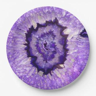 Falln Purple Agate Geode 9 Inch Paper Plate