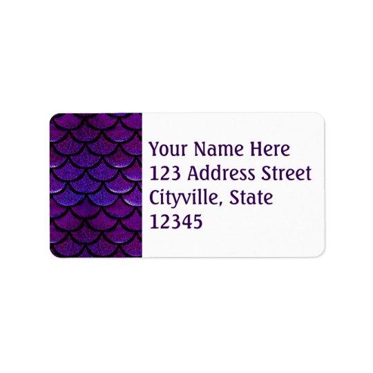 Falln Purple & Blue Mermaid Scales Address Label