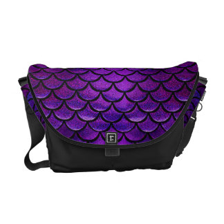 Falln Purple & Blue Mermaid Scales Courier Bag
