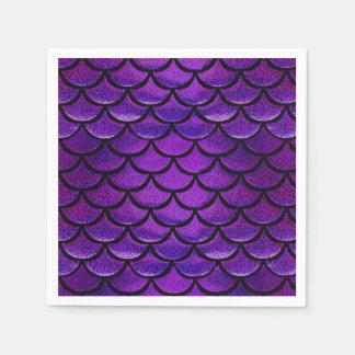 Falln Purple & Blue Mermaid Scales Paper Napkins