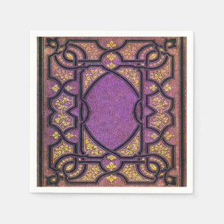 Falln Purple & Gold Vines Book Cover Disposable Napkins