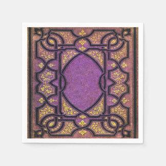 Falln Purple & Gold Vines Book Cover Disposable Serviette