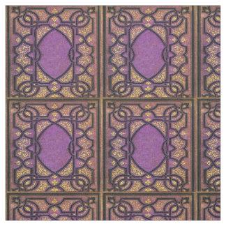 Falln Purple & Gold Vines Book Cover Fabric